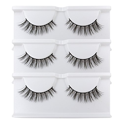 BEPHOLAN False Lashes 3 Pairs Reusable Handmade Fake Eyelashes 3D Mink Eyelashes Soft Fake Eyelashes Natural Look for Makeup(xmz027)