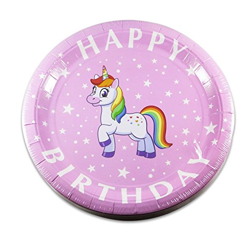 Birthday Party Paper Cups - Rainbow Unicorn Birthday Party Supplies - 20 Plates, Cups & Napkins - Premium Dual Layer Paper Won't Sag or Buckle - Cute Pink Design Perfect for Girls Birthday Party