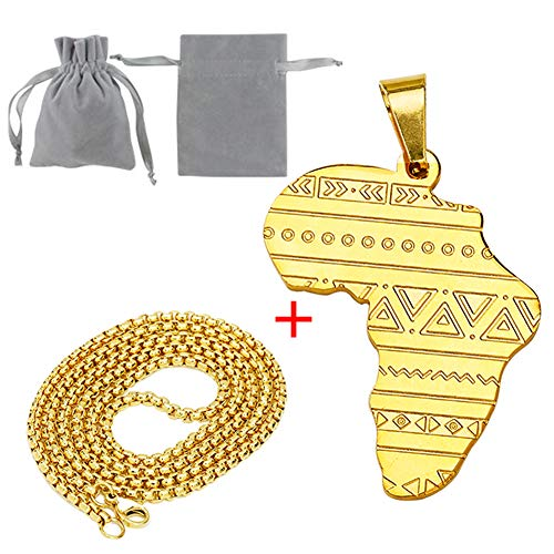Senteria African Map Pendant Necklace for Women 23.6inch Long Chain Titanium Stainless Steel 18k Gold Plated Necklace for Men Hip Hop Jewelry