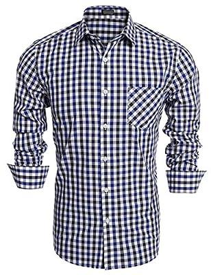 Goodfans Men Slim Fit Lapel Long Sleeve Plaid Button Up Contton Casual Shirts