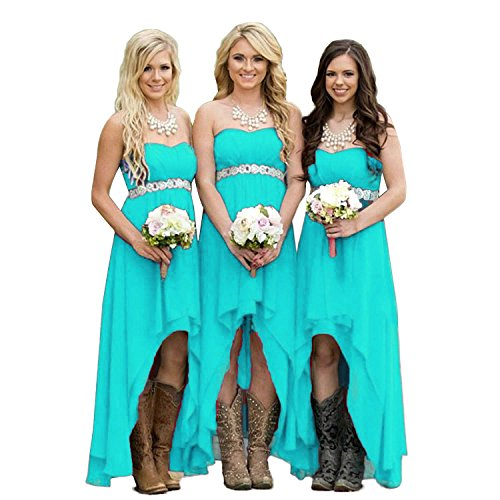 Fanciest Women' Strapless High Low Bridesmaid Dresses Wedding Party Gowns Turquoise US6