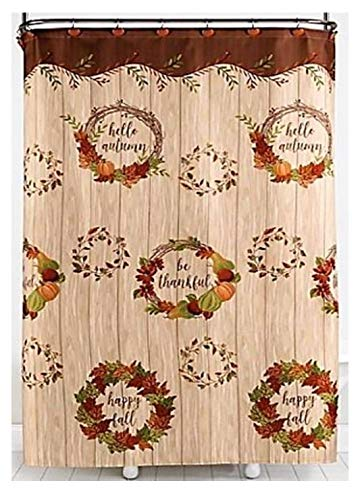 Amazon Interiors Pumpkin Harvest Bathroom Shower Curtain With