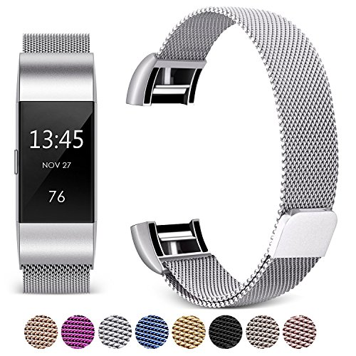Black Mesh Sport Armband ([Updated Solid Version] For Fitbit Charge 2 Magnetic Bands, Hotodeal Band Milanese Loop Stainless Steel Metal Replacement Bracelet Strap, Wristbands Accessories for Women Men)
