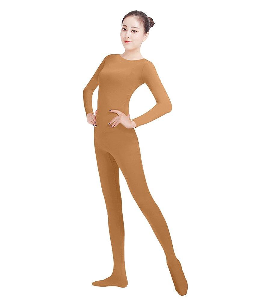 NiSeng Adulti e Bambini Unitard Zentai Second Skin Suit Originale Costume Intero Tuta per Ballare e Yoga Marrone XS