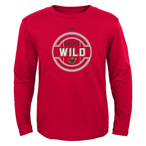 NHL Minnesota Wild Boys Attacking Zone Performance Long Sleeve Tee, Large/(14-16), Red - Minnesota Wild Long Sleeve