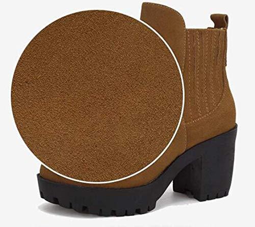 Femme Automne Et Chaussures À Coton Hiver 35 Hauts Talons E Taille Bottes A Cuir Couleur Zhrui Matte En H5qwdxHE