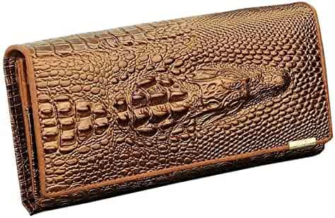 15e8351bb50a Zando Women s Crocodile Vintage Multi Pockets Genuine Leather Long Bifold  Wallet