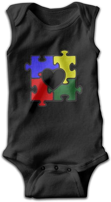 Dunpaiaa Autism Newborn Crawling Suit Sleeveless Romper Bodysuit Onesies Jumpsuit Black