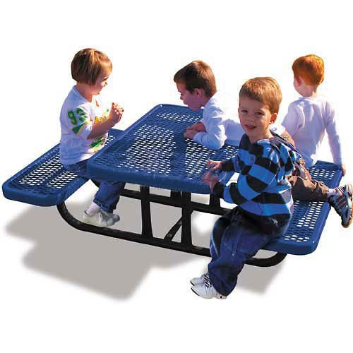 4' Rectangular Children'S Picnic Table, Expanded Metal, Blue (4' Kids Picnic Table)