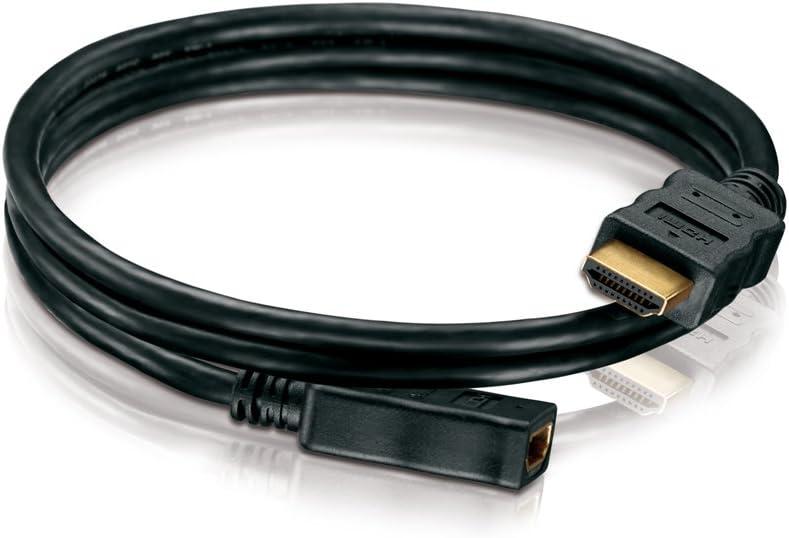 a HDMI-A macho 19 pines negro 1,00m 19 pines 2 veces blindado contactos chapados en oro HDSupply HC000-010E Cable HDMI de alta velocidad con Ethernet HDMI-A macho