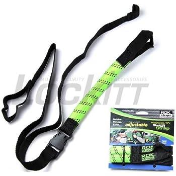 ROK Straps ROK-10050 Black//Reflective 18-60 Motorcycle//ATV Adjustable Stretch Strap
