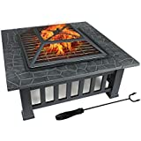 """ZENY 32"""" Outdoor Fire Pit Square Metal Firepit Backyard Patio Garden Stove Wood Burning Fire Pit W/Rain Cover, Black (#01)"""