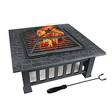 ZENY 32  Outdoor Fire Pit Square Metal Firepit Backyard Patio Garden Stove Wood Burning Fire Pit W/Rain Cover, Black (#01)