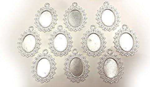 【HARU雑貨】シルバー ミール皿 10枚セット/楕円 オーバル レース 皿 銀 s69/レジン アクセサリーパーツ