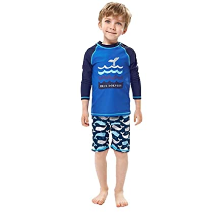 e19855da97 Amazon.com : ViewHuge 2 Piece Set Boys Swimsuit, Long Sleeve Wetsuit Rashguard  Swim Trunk Short Set for Kids Girls : Sports & Outdoors