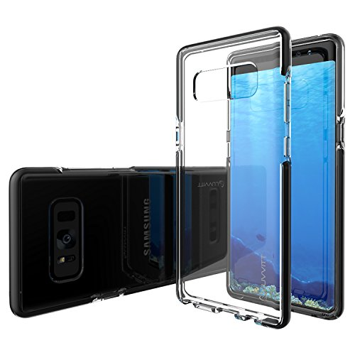 Galaxy Note 8 Case, LUVVITT [PROOFTECH] Shockproof Flexible TPU Case Impact Resistant TPE Shock Absorption Bumper Samsung Galaxy Note 8 Phone (2017) - Clear/Black