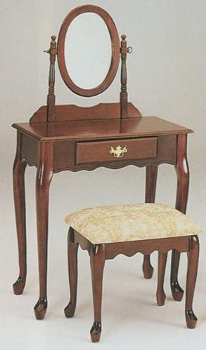 acme Queen Anne Style Cherry Finish Wood Vanity Set w Mirror Stool