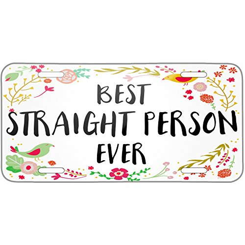Neonblond Happy Floral Border Straight Person Metal License Plate -  plate-01-131980