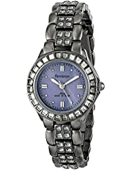 Armitron Womens 75/3689GMDG Grey Swarovski Crystal Accented Gunmetal Bracelet Watch