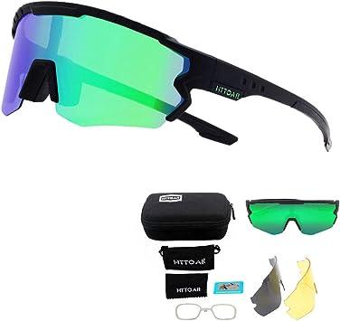 Gafas de Sol Deportivas/Gafas De Sol Polarizadas para Ciclismo ,con 3 Set De Lentes Intercambiables para Hombre Mujer (Negro y verde): Amazon.es: Ropa y accesorios