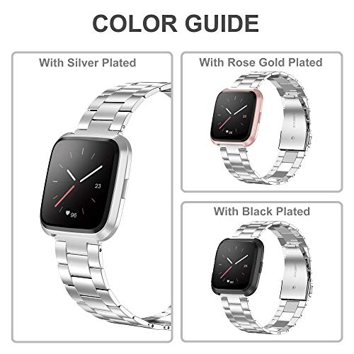 Wearlizer-Stainless-Steel-Band-Compatible-for-Fitbit-VersaFitbit-Versa-Lite-Bands-Women-MenUltra-Thin-Lightweight-Replacement-Band-Strap-Bracelet-Compatible-for-Fitbit-Versa-Smartwatch-Accessories