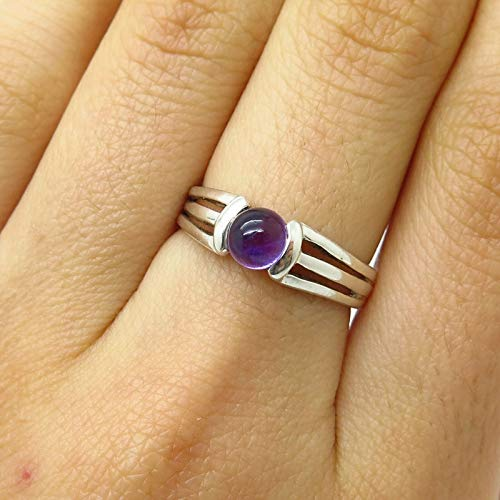 925 Sterling Silver Real Amethyst Gemstone Triple Bar Design Ring Size 6 3/4 Jewelry by Wholesale Charms