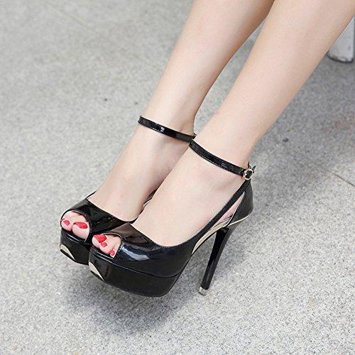 Alla Toe Aisun Delle Sexy Talloni Sandali Alti Donne Cinturino Peep Nero Caviglia Fibbia Stiletto gIxf6xwq