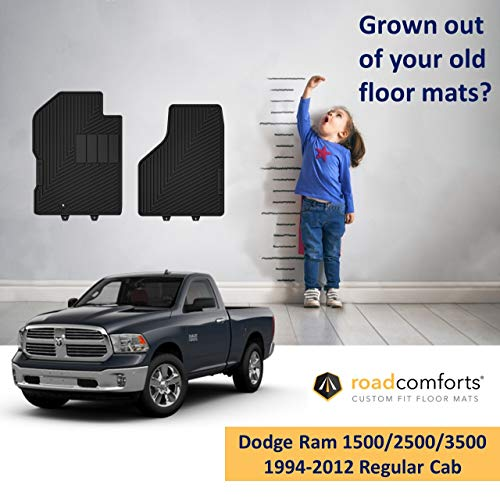 Fit Dodge Ram Floor Mats for 1500/2500/3500 Regular Cab 1994-2012, 1500/2500/3500 Mega Cab 2006-2012 - Protect Floor from Mud, Snow, Slush & Water - Front Row only (Black) (2pcs) ()