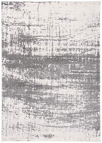 Rugshop Distressed Modern Abstract Design Area Rug 5' x 7' Gray