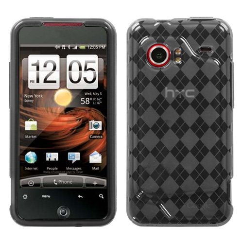 Premium Argyle Flexible Flexi TPU Plastic Crystal Skin Case Cover for the HTC Incredible, Smoke Checkers Plaid Print ()