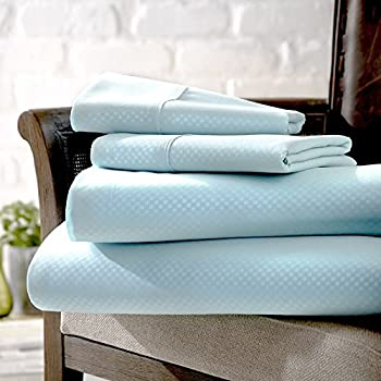 Home Collection 4 Piece Embossed Checker Home Premium Quality Ultra Soft Deep Pocket Bed Sheet Set - Full  - Aqua