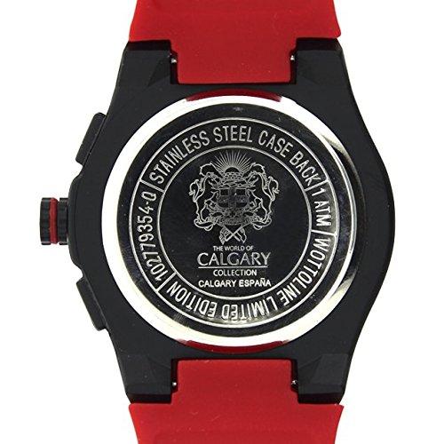 Relojes Calgary España World Cup. Reloj Deportivo para Hombre, Correa de Caucho Rojo, Esfera Color Negra: Amazon.es: Zapatos y complementos