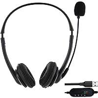 VRK Auriculares USB para Computadora,Auriculares con Micrófono,Auriculares Ligeros para PC Auriculares con Cable…