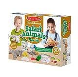 Melissa & Doug Track & Rescue Safari Animals Play Set with 3 Plush Stuffed Animals (30 Pcs), Multicolor
