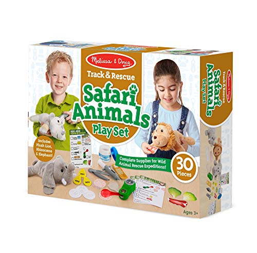 Melissa & Doug Track & Rescue Safari Animals Play Set with 3 Plush Stuffed Animals (30 Pcs), Multicolor