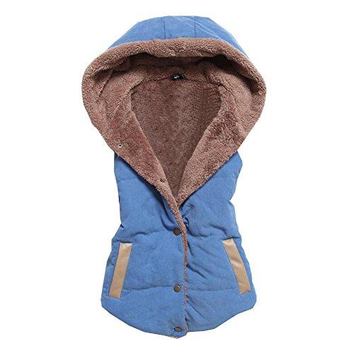 Blue and Autumn coral cashmere vest vest vest Spring Autumn stitching plus and vest hooded winter cotton 1qYF1Zw