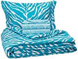 My Room Zebra Ultra Soft Microfiber Comforter Sheet Set, Aqua, Twin/Twin X-Large