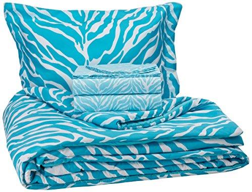 My Room Zebra Ultra Soft Microfiber Comforter Sheet Set, Aqua, Twin/Twin X-Large by My Room