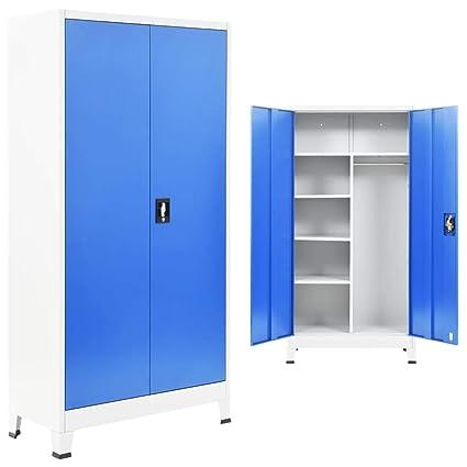 Festnight- Armario Taquilla con 2 Puertas Archivador de Oficina con 6 Compartimentos Metal 90x40x180 cm