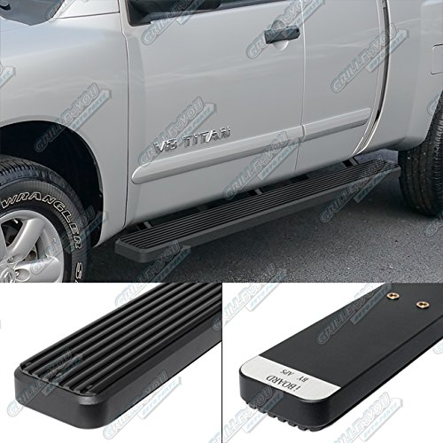 iBoard (Black Powder Coated 4 inches) Running Boards | Nerf Bars | Side Steps | Step Rails For 2004-2017 Nissan Titan King Cab Pickup 4-Door