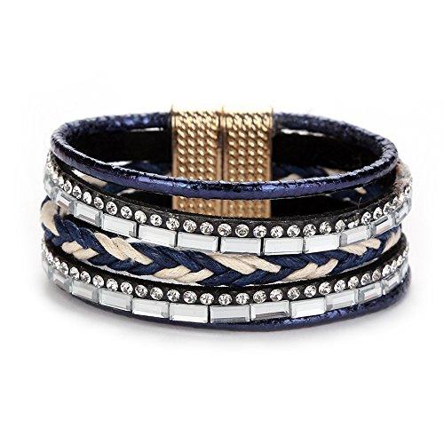 SoundsBeauty Women Girls Bohemia Style Multilayer Braided Wristband Rhinestone Decor Bracelet Bangle Jewellery Gift Navy Blue (Band Rhinestone Decor)