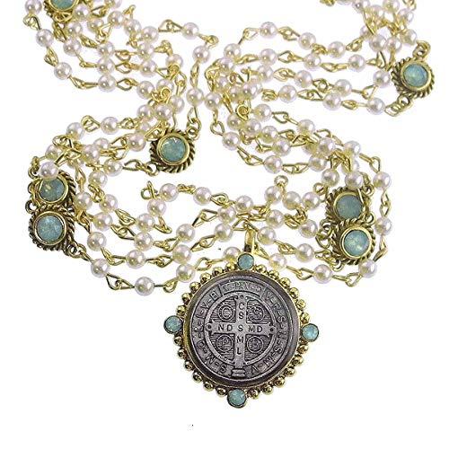 VSA - Virgins Saints and Angels San Benito Magdalena Necklace, Gold, Pearl Pacific Opal