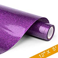 PU HTV Vinyl - 12inch x 5feet Glitter Heat Transfer Vinyl roll for Silhouette Cameo & Cricut Easy to Cut, Weed and Transfer, Iron On Htv Vinyl Design for T-Shirt, clothes and Other Textiles (Purple)