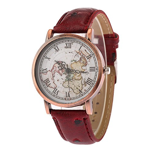 Vintage Retro World Map Watch Roman Numerals Scale Dial Leather Strap Men Women Boy Girl Wrist Watch, Red