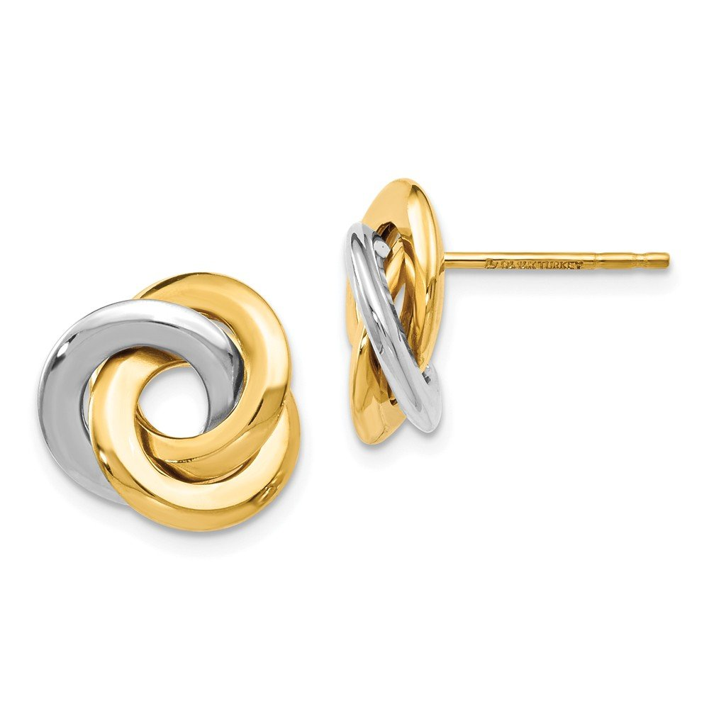 Leslie's 14K Two Tone Gold Polished Love Knot Earrings by Jewels By Lux