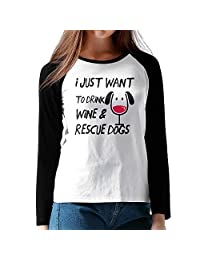 Drink Wine Rescue Dogs Baseball Tees Long Sleeve Tee Shirt