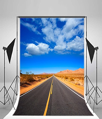 Laeacco 6x8ft Vinyl Photography Background Mohave Desert Route 66 California Yucca Valley USA Highway Express Blue Sky White Clodus Background Scenic Nature Children Shooting Video Studio Props