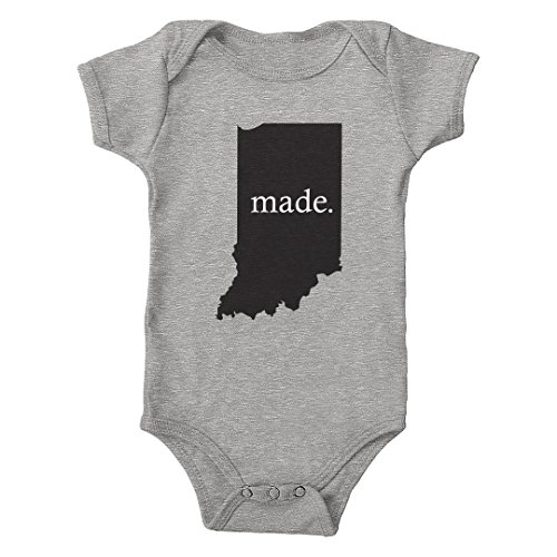 Trunk Candy Infant Indiana Made 100% Cotton One-Piece Bodysuit (Heather, 6M) -