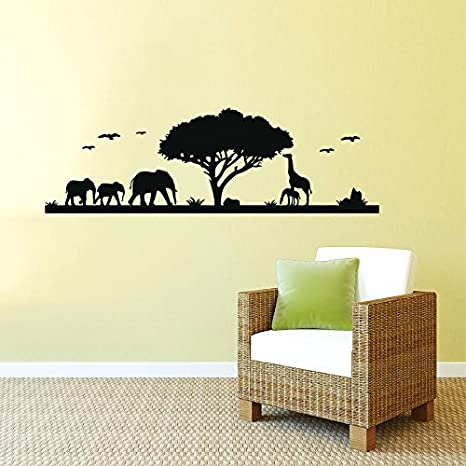 Safari Wandtattoo Afrika Tiere Afrika Giraffe Elefant Jungle Safari Kids Kinder Kinderzimmer Wandtattoo Fur Badezimmer Vinyl Aufkleber Aufkleber Wandmalereien Amazon De Kuche Haushalt