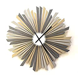 ardeola The Sirius - 16 Large Size Stylish Handmade Wooden Wall Clock in Shades of Silver, a Piece of Wall Art